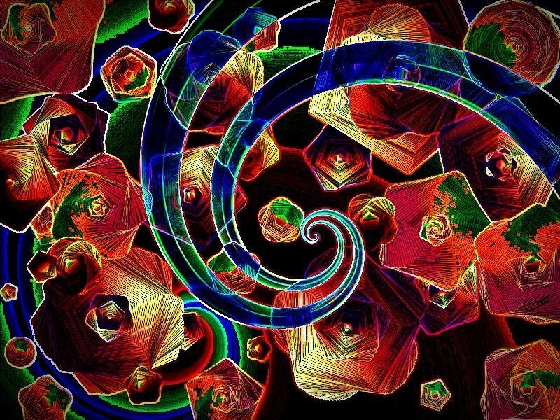Federsternspirale a Aquarell Grafik dunkel