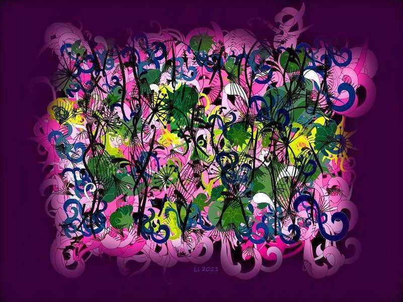 Arabeske Pinkgrünlila Nebel
