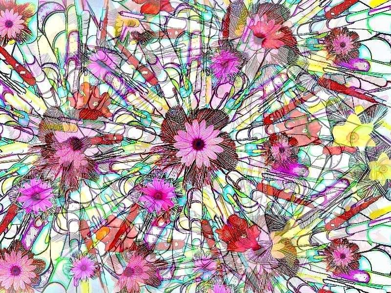 Oha Blütenstrauß Grafik Blüten dunkel b